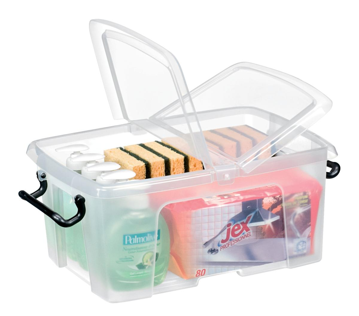 Image for Strata Smart Box Clip-On Folding Lid Carry Handles 12 Litre Clear Ref HW671CLR