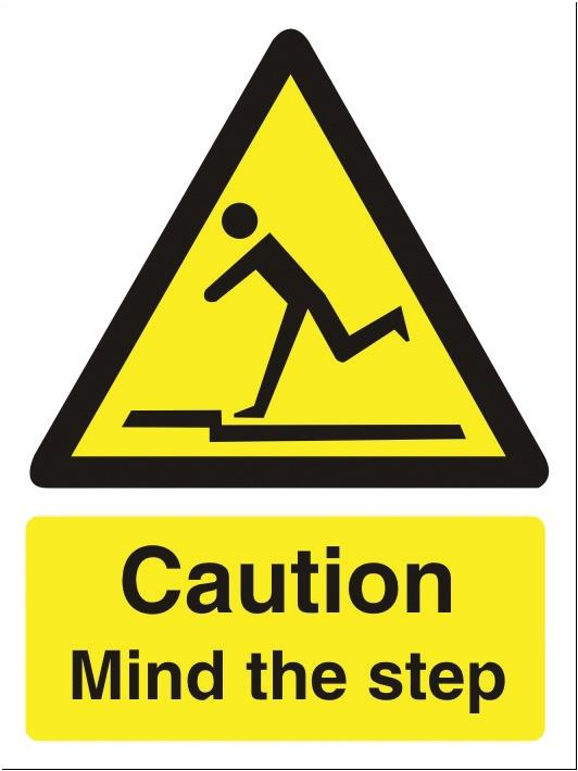Stewart Superior Caution Mind The Step Sign Self Adhesive Vinyl 150x200mm Ref WO131SAV