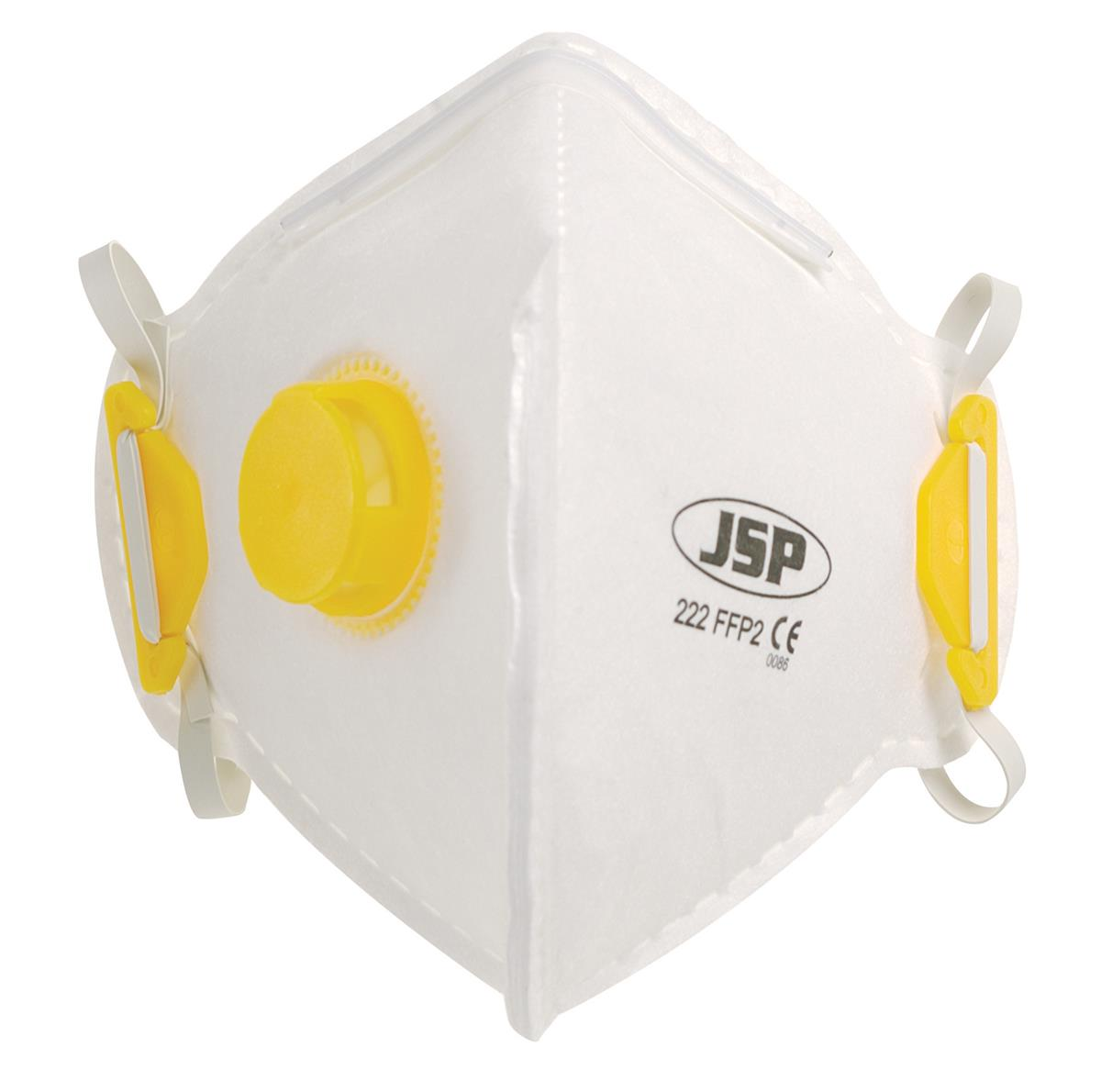 JSP Disposable Mask Valved Fold-flat FFP2 Class 2 EN149:2001 & A1:2009 Ref BEB120-101-000 [Pack 10]