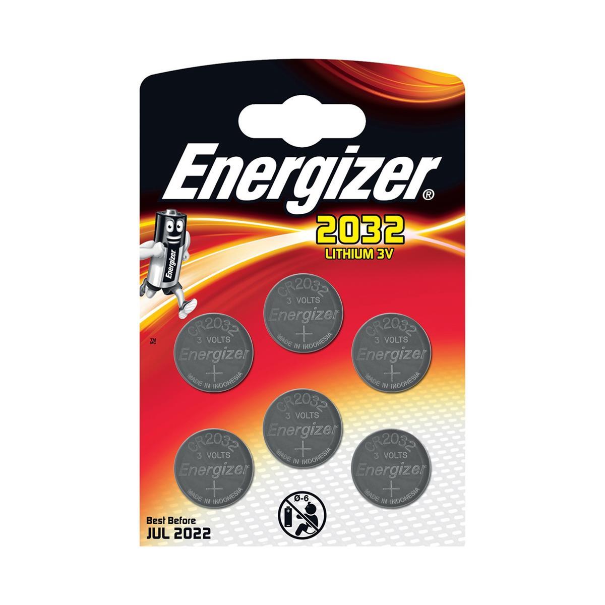 Image for Energizer Lithium Battery CR2032 3V Ref E300303700 [Pack 6]
