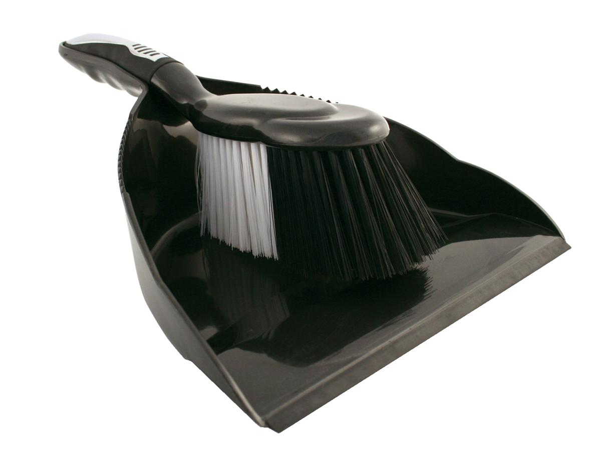 Dustpan and Brush Set Black and Chrome
