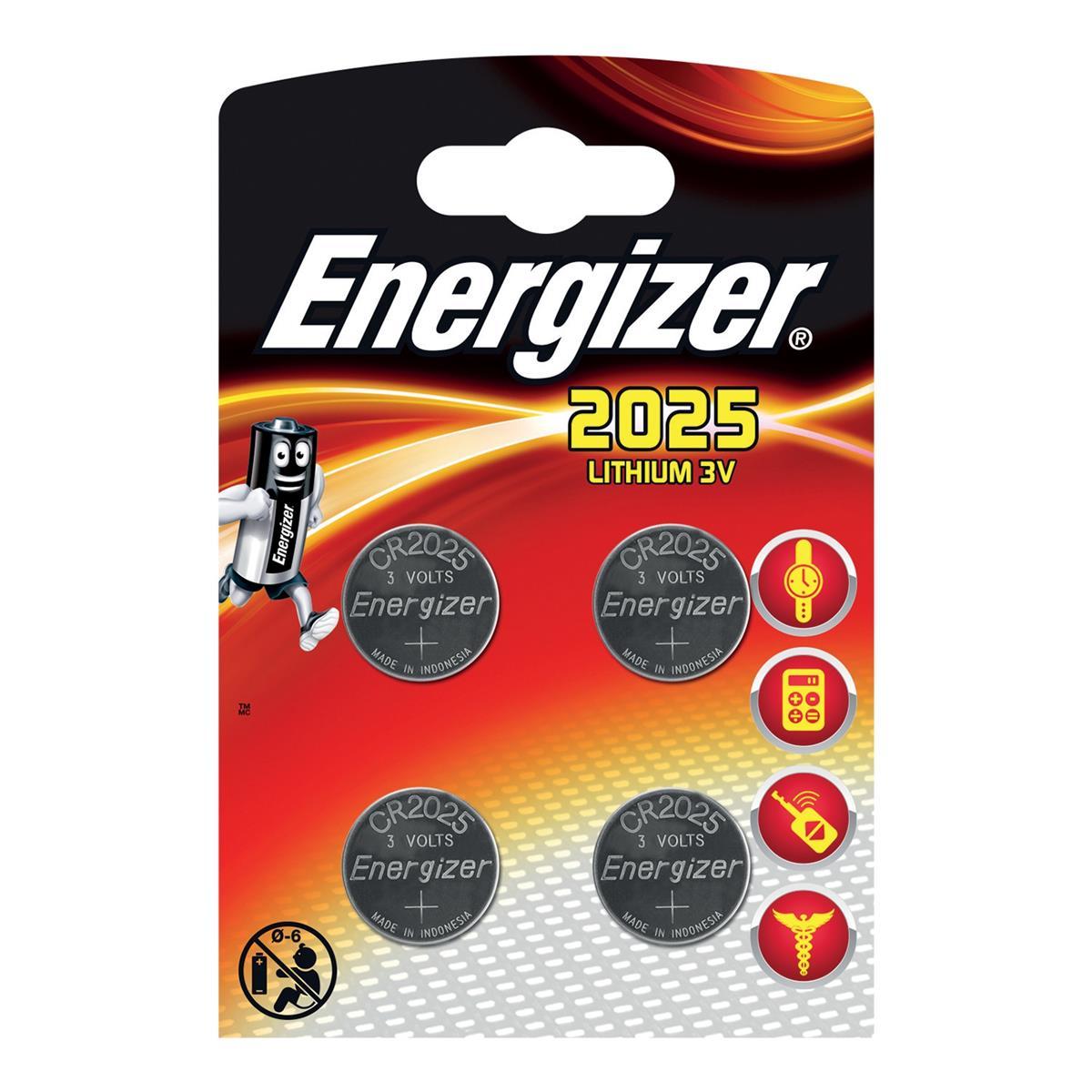 Energizer Lithium Battery CR2025 3V Ref E300520500 [Pack 4]