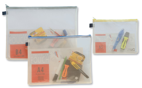 Image for Zip Bag Reinforced Mesh Weave PVC Clear with Coloured Seal A4 Blue [Pack 5]