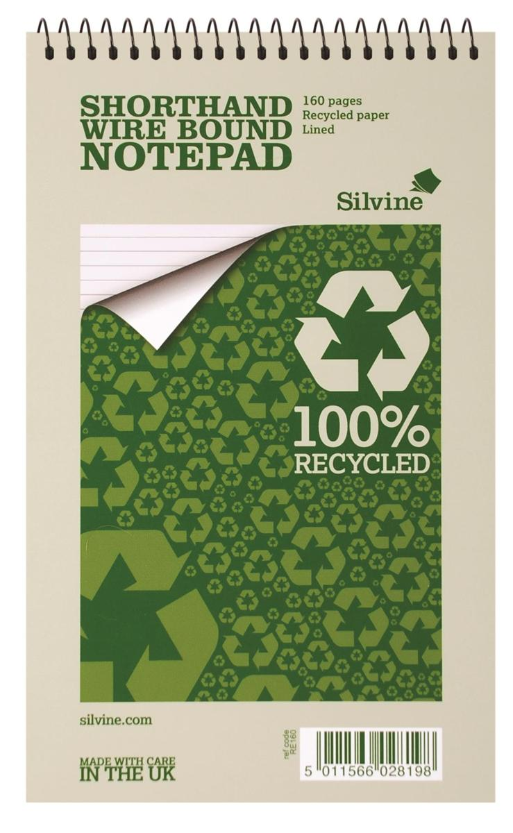 Image for Silvine Everyday Shorthand Notepad Recycled Wirebound Ruled 160pp 70gsm 125x200mm Ref RE160 [Pack 12]