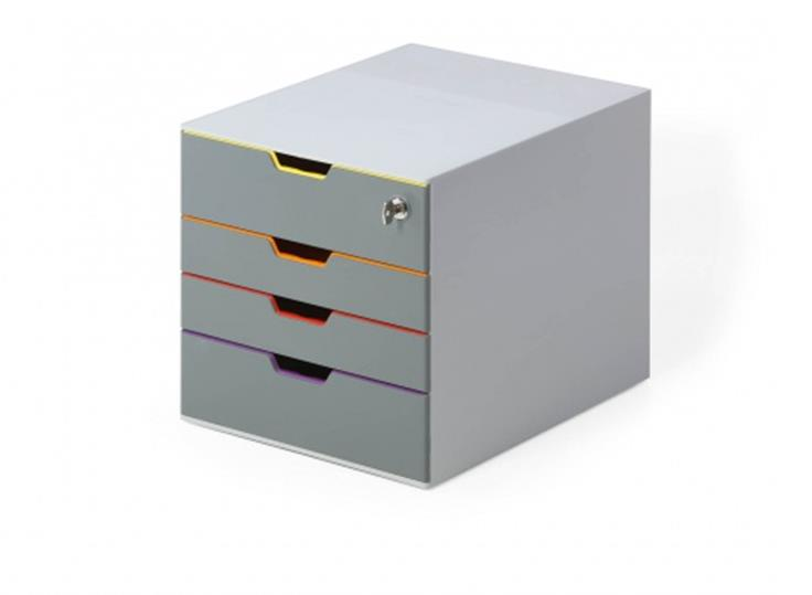 Image for Durable Varicolor Safe 4 Drawer Box with Lockable Top Drawer Grey Ref 760627