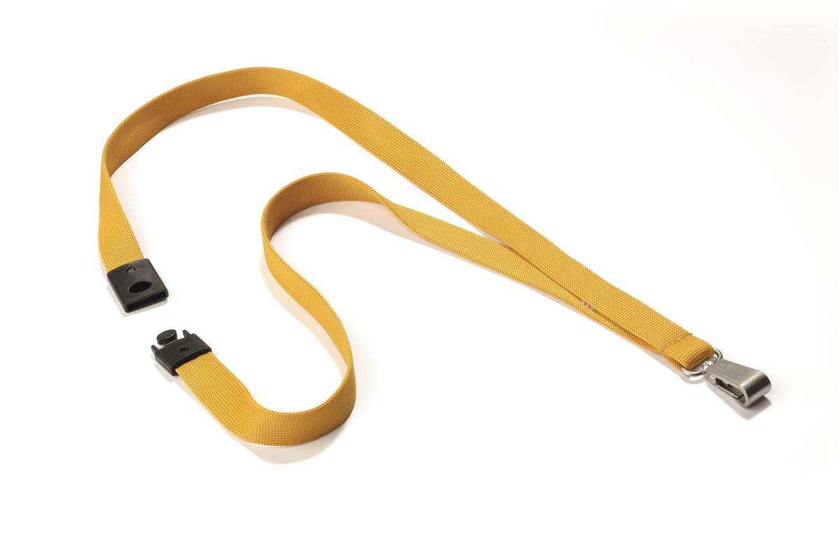 Durable Soft Textile Lanyard 15mmx440mm with 12mm Metal Snap Hook Ochre Ref 8127135 [Pack 10]