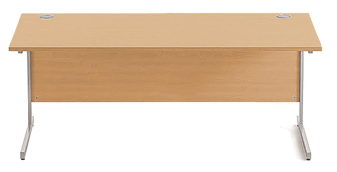 Image for Sonix Cantilever Desk Rectangular Silver Cantilever Leg 1800mm Rich Beech