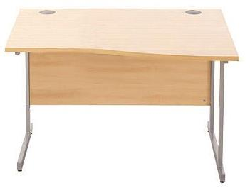 Image for Sonix Cantilever Slim Wave Desk Silver Cantilever Leg 1200mm Maple