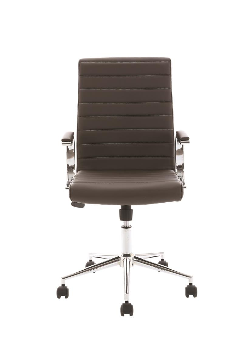 Image for Trexus Executive Chair Static Arms Flat Packed Bonded Leather Brown