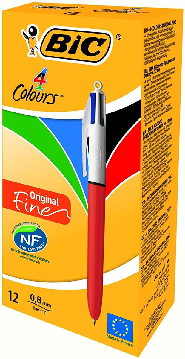 Bic 4-Colour Ball Pen Fine 0.8mm Tip 0.3mm Line Orange Barrel Blue Black Red Green Ref 889971