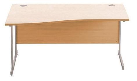 Image for Sonix Cantilever Slim Wave Desk Silver Cantilever Leg 1200mm Beech