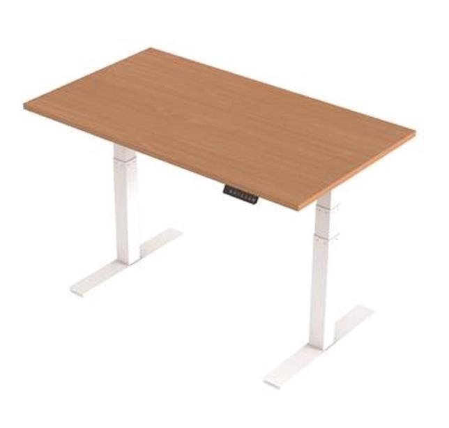 Image for Trexus Sit Stand Desk Height-adjustable White Leg Frame 1400mm Beech