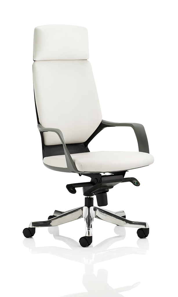 Image for Adroit Executive Chair Static Arms Flat Packed Bonded Leather White