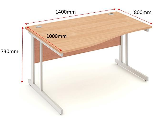 Image for Trexus Wave Desk Left Hand Cantilever Leg 1400mm Beech