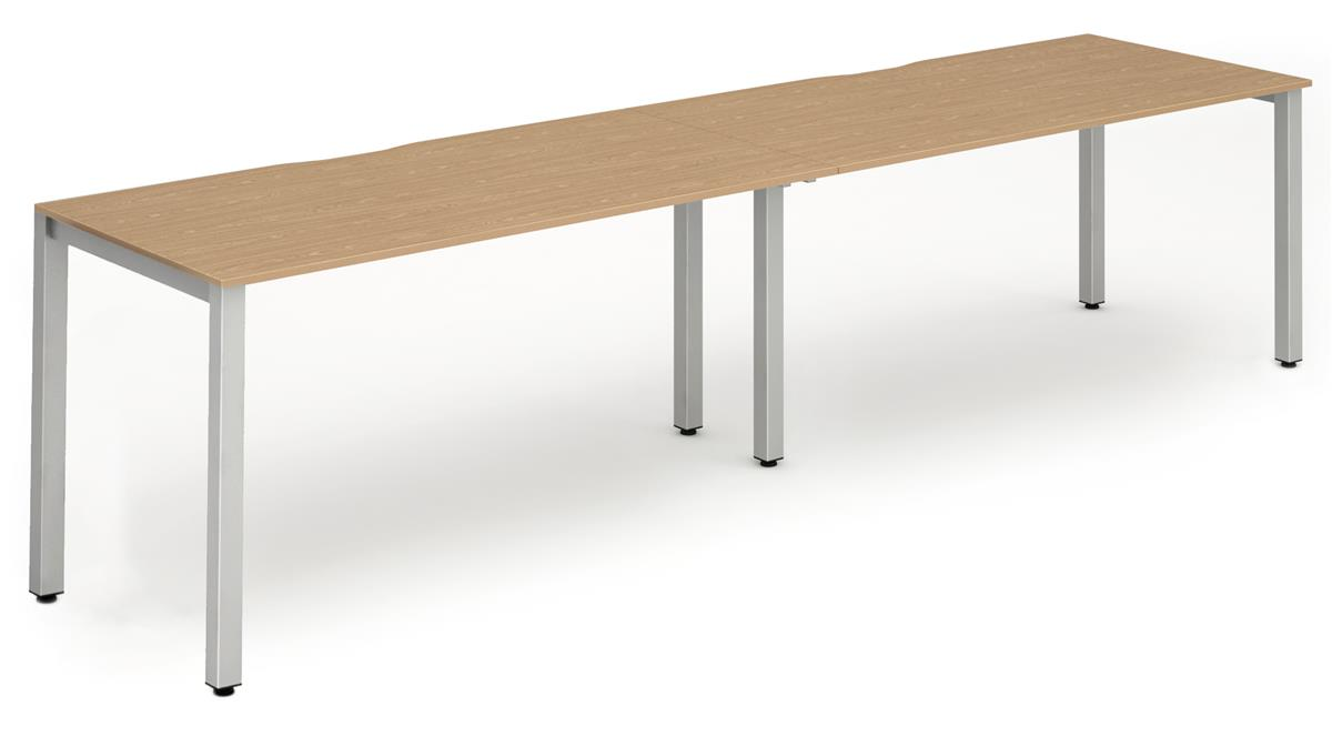 Image for Trexus Side to Side Bench Desk 2 Person Lockable Sliding Top Silver Leg Frame 1200mm Beech