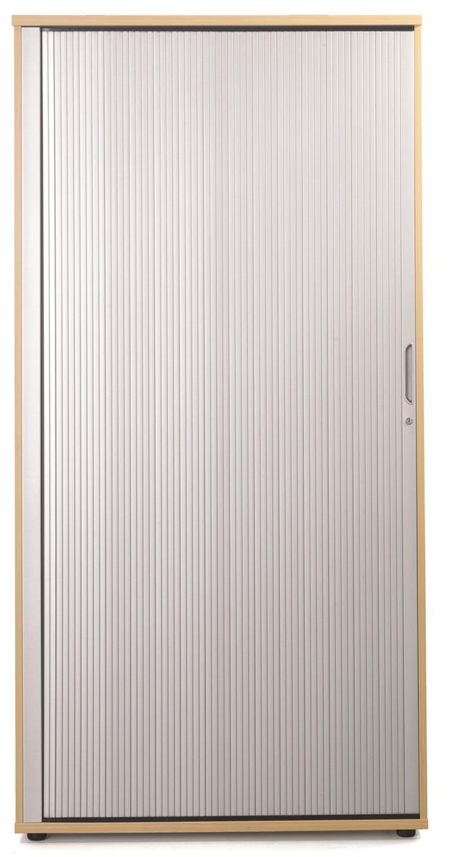 Image for Sonix Tambour Door Cupboard Tall Rich Beech/Silver