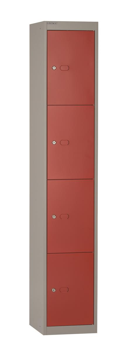 Image for Bisley Steel Locker 305 Four Door Red/Grey