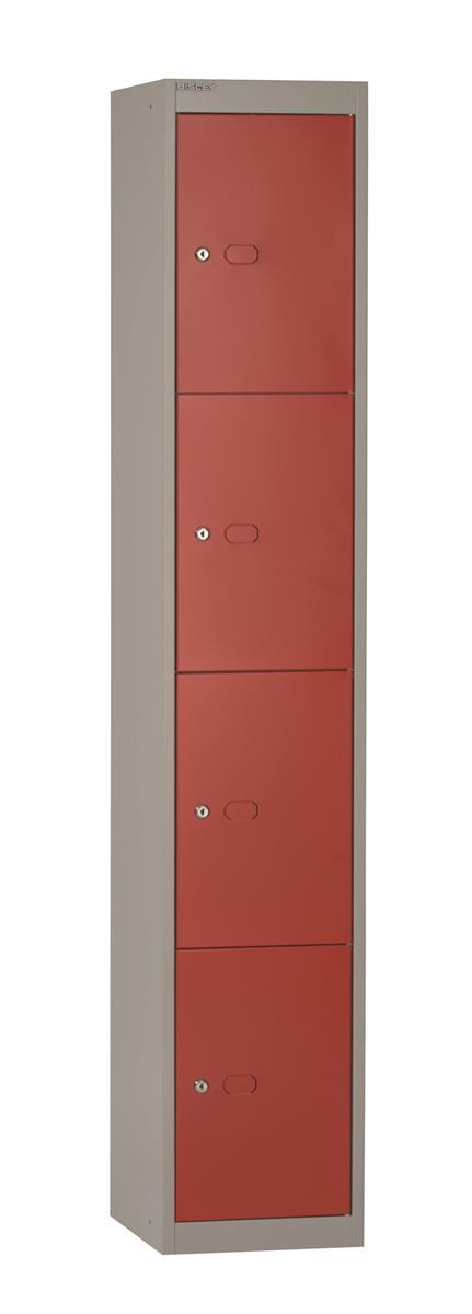 Image for Bisley Steel Locker 305 Four Door Red/Grey