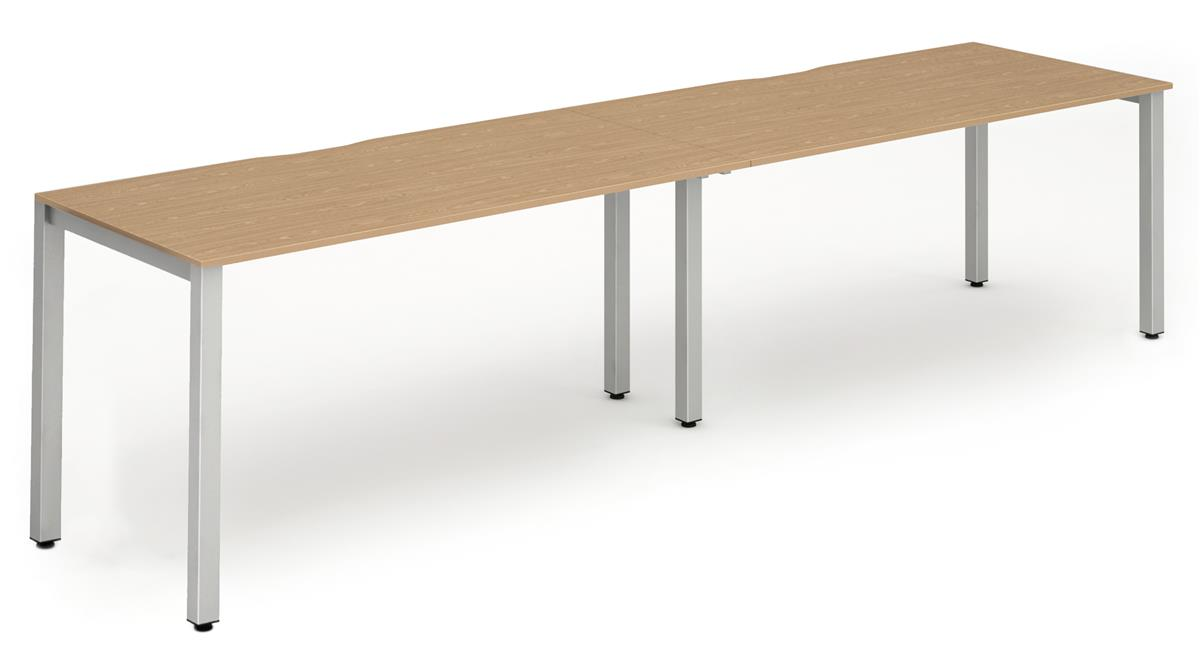 Image for Trexus Side to Side Bench Desk 2 Person Lockable Sliding Top Silver Leg Frame 1200mm Oak