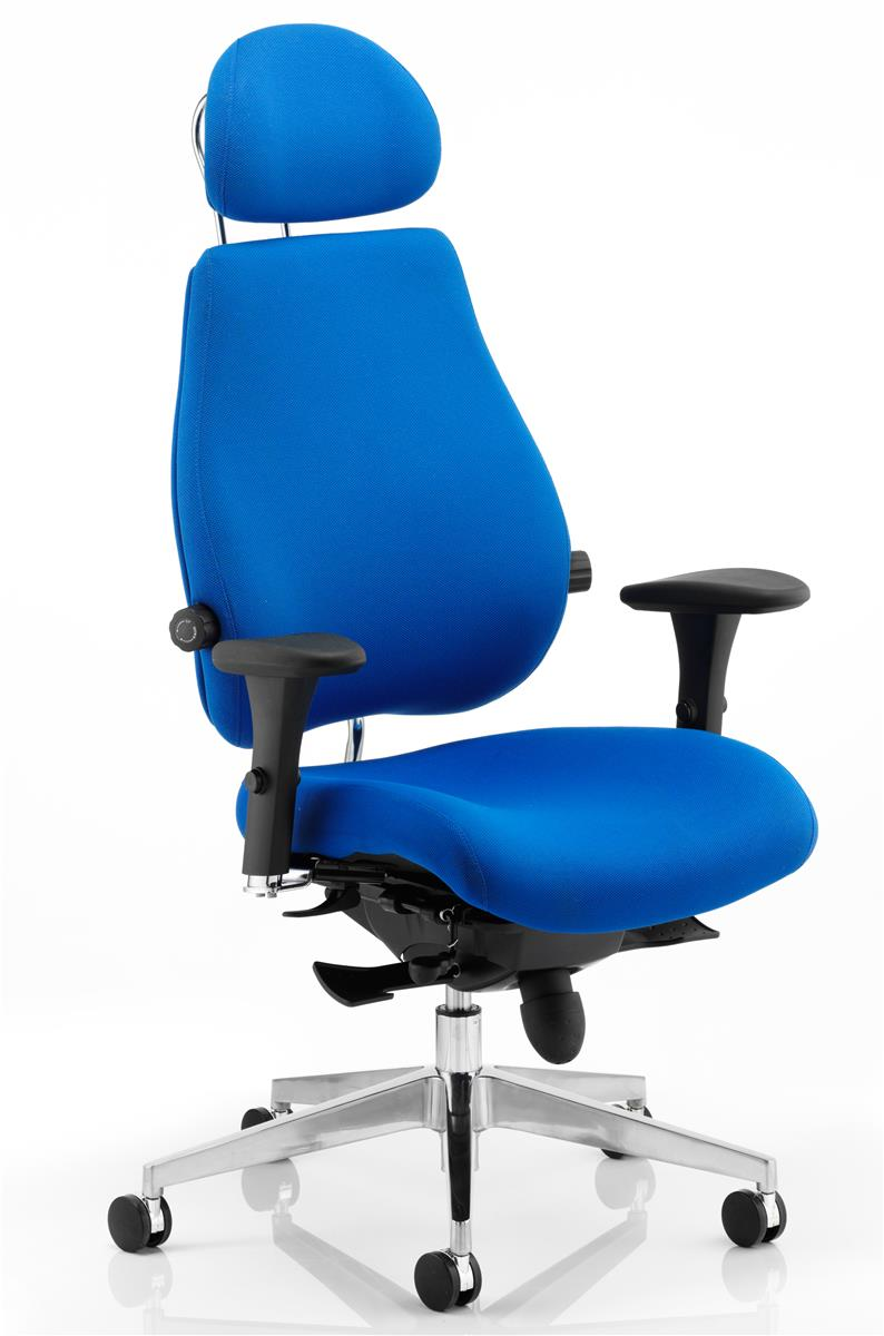 Image for Adroit Posture Chair Multi Arms Flat Packed Fabric Blue
