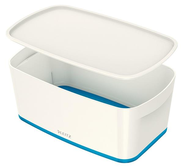 Image for Leitz MyBox Storage Box Small with Lid Plastic W318xD19xH128mm White/Blue Ref 52294036