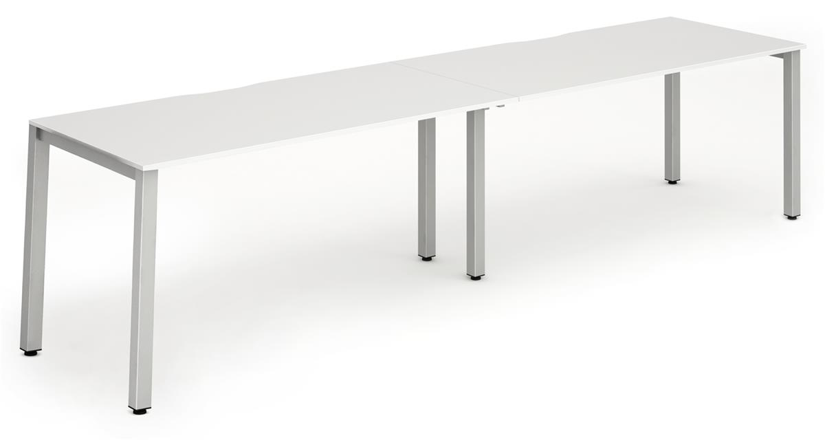 Image for Trexus Side to Side Bench Desk 2 Person Lockable Sliding Top Silver Leg Frame 1200mm White