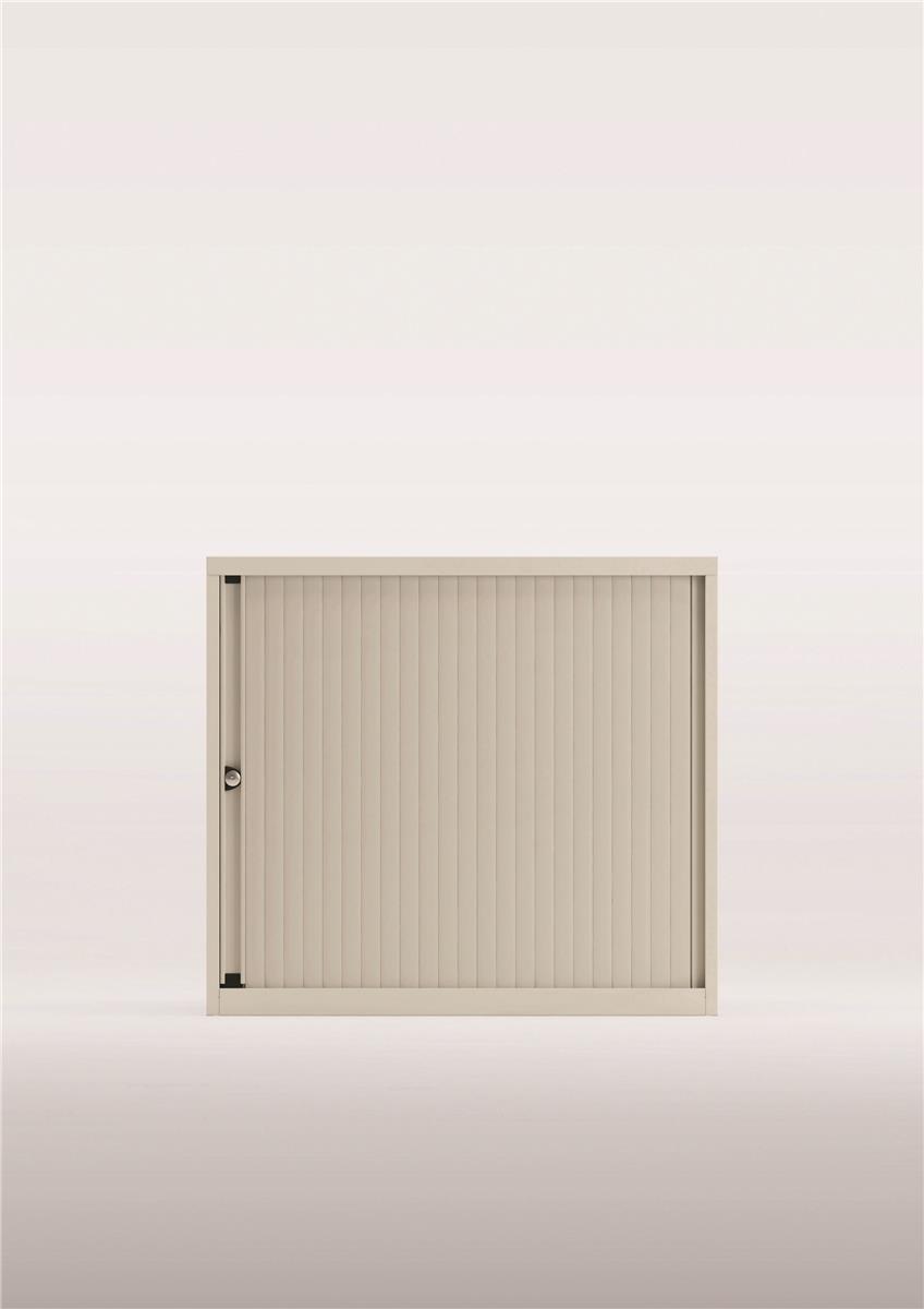Bisley Desk High Tambour Door Cupboard 800mm White/Silver