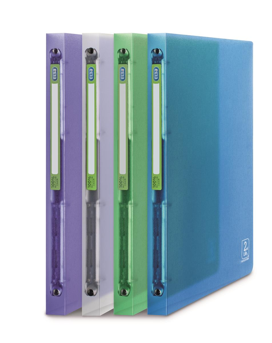 Image for Elba 2nd Life 4 Ring Binder 20mm Spine Recycled Polypropylene A4 Assorted Ref 400065868 [Pack 4]