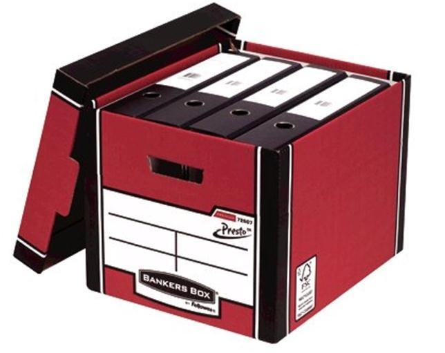 Image for Bankers Box Premium Storage Box Tall FSC Red and White Ref 7260703 [Pack 12] [12 for the price of 10]