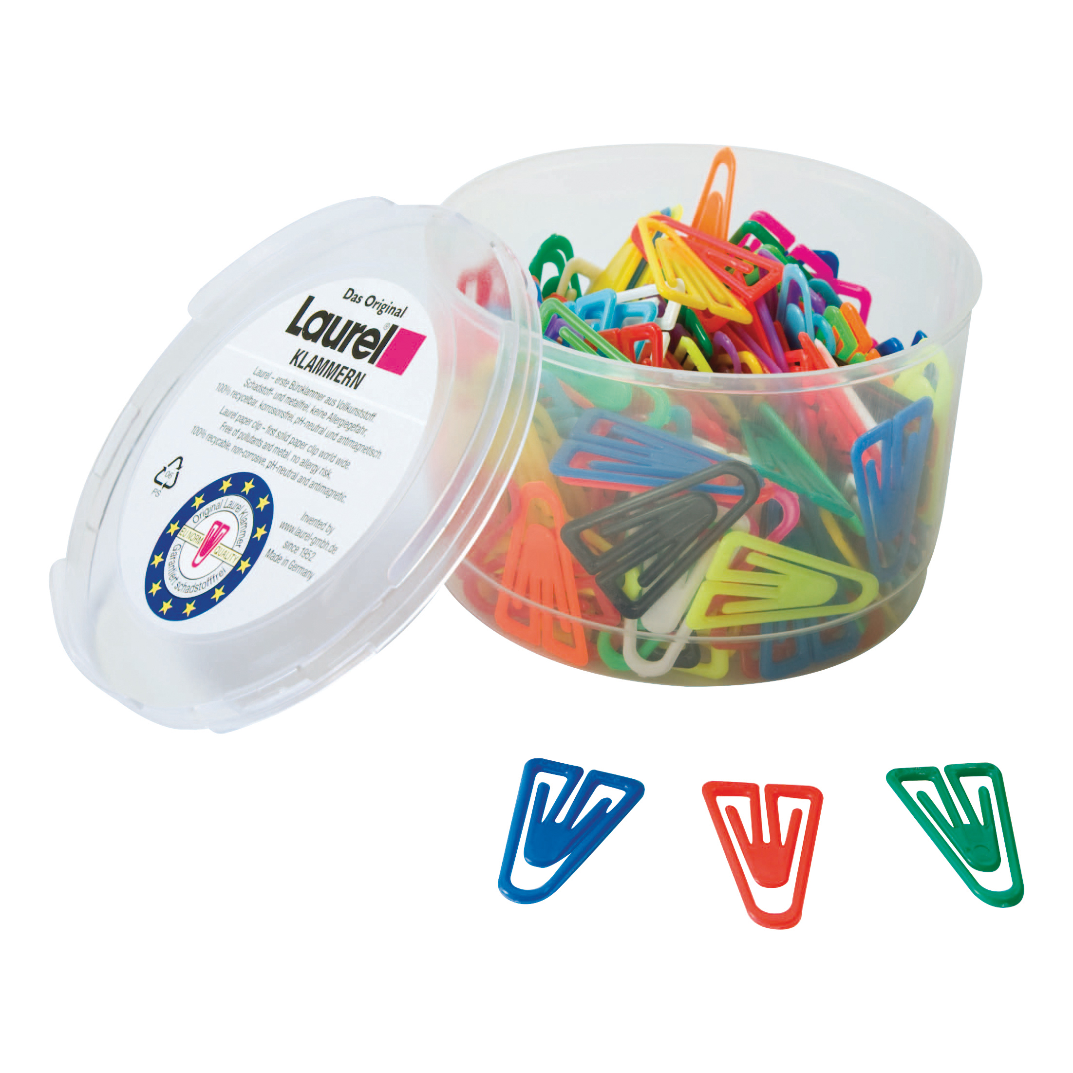 Laurel Paperclips Plastic Non Magnetising 60mm Assorted Colours Ref 25928 Pack 75