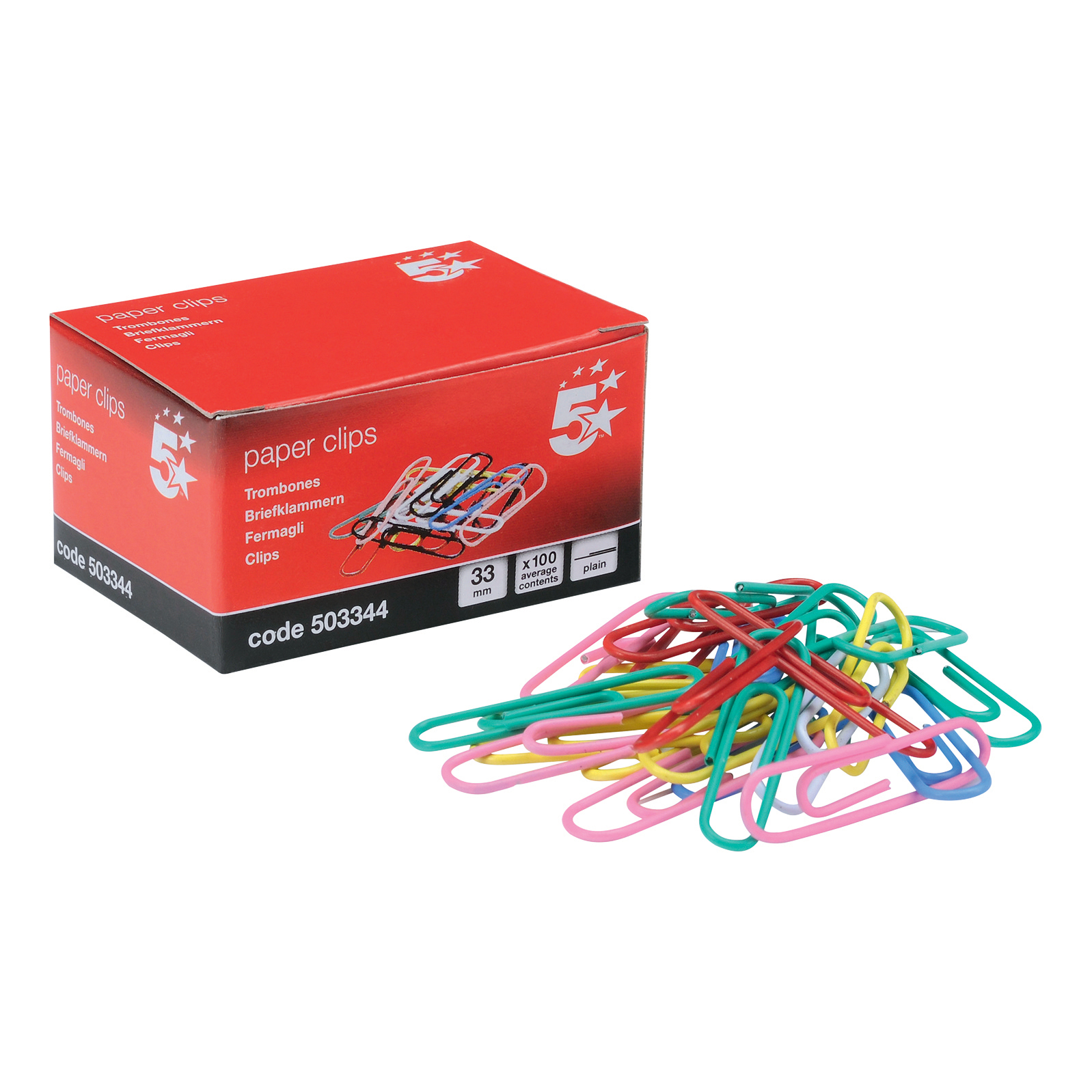 5 Star Office Paperclips Metal Large Length 33mmm Plain Assorted Colours Pack 10x100