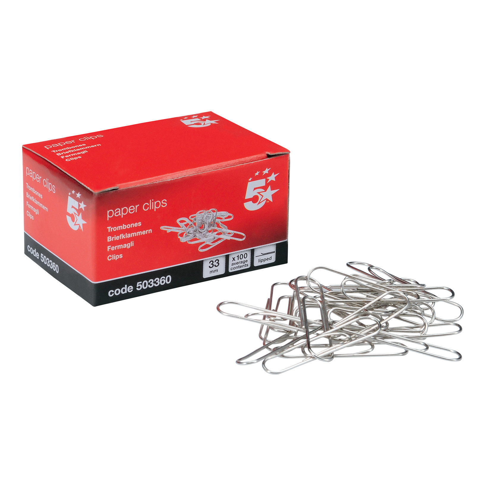 Clips 5 Star Office Paperclips Metal Large Length 33mm Lipped Plain Pack 10x100