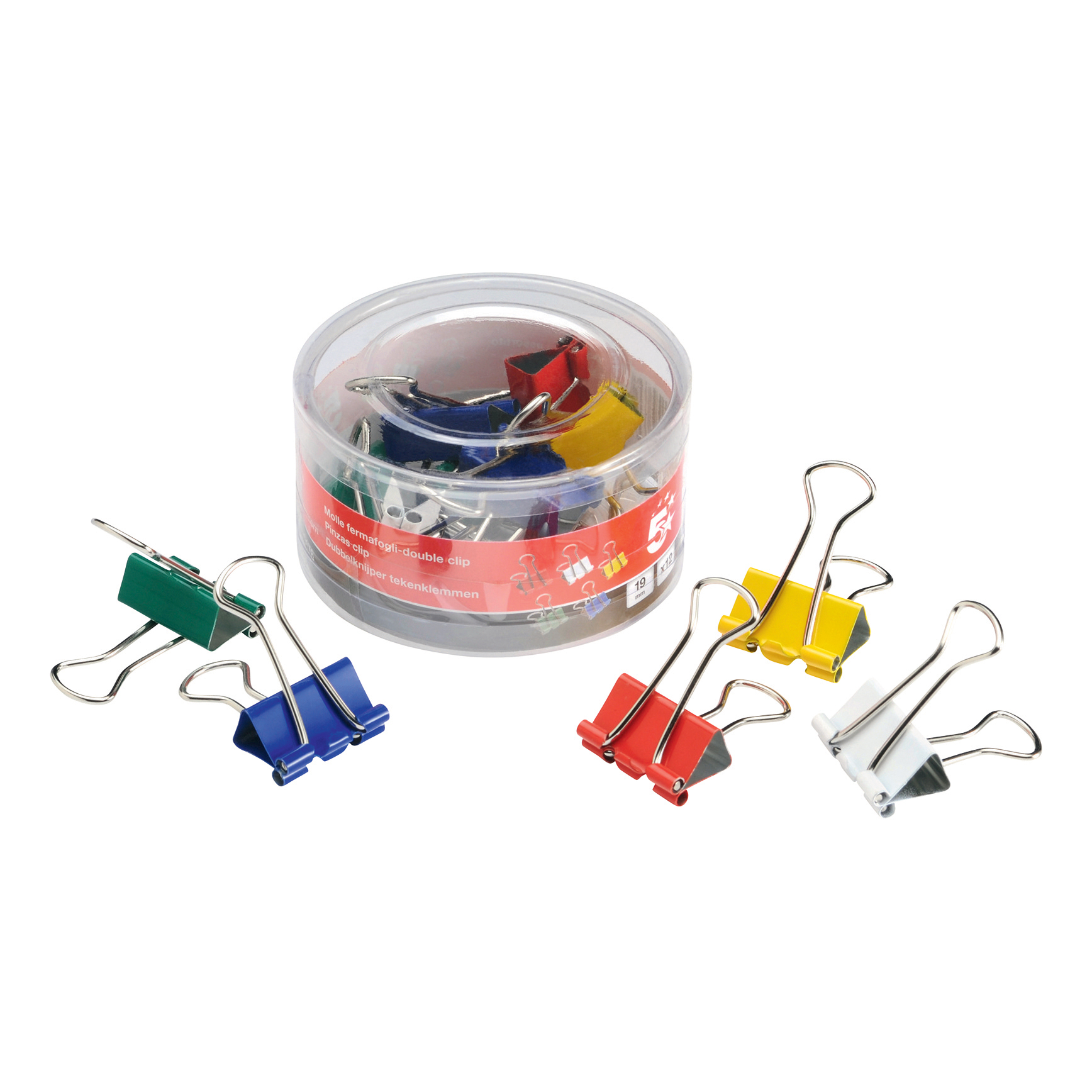 5 Star Office Foldback Clips 19mm Assorted Colours [Pack 12]