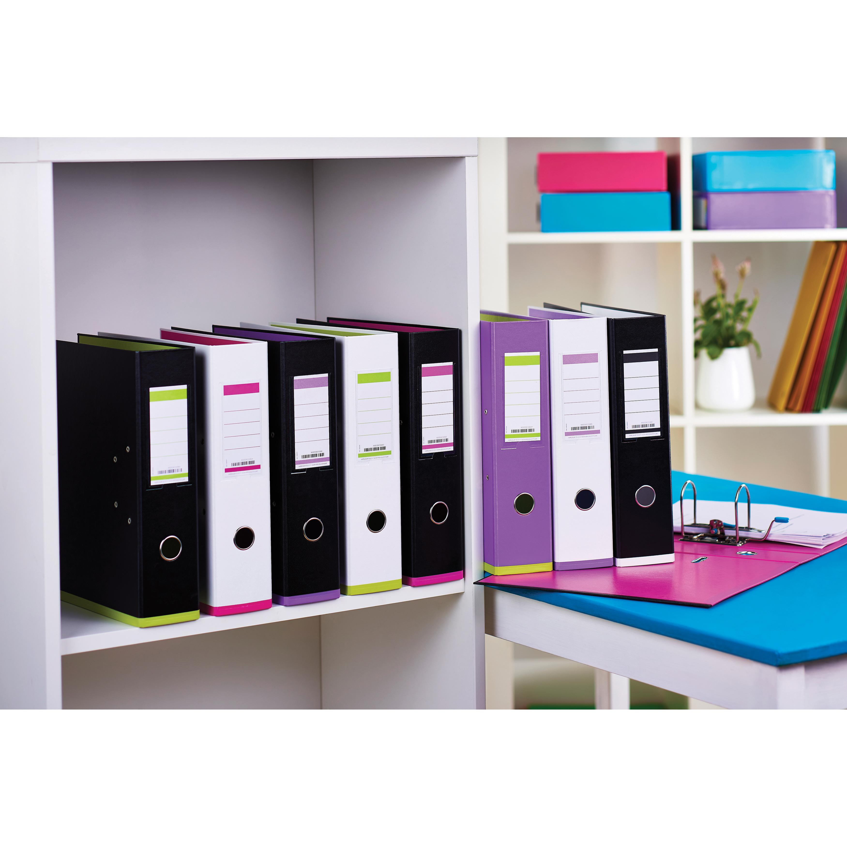 Oxford MyColour Lever Arch File Polypropylene Capacity 80mm A4Plus White & Purple Ref 100081030