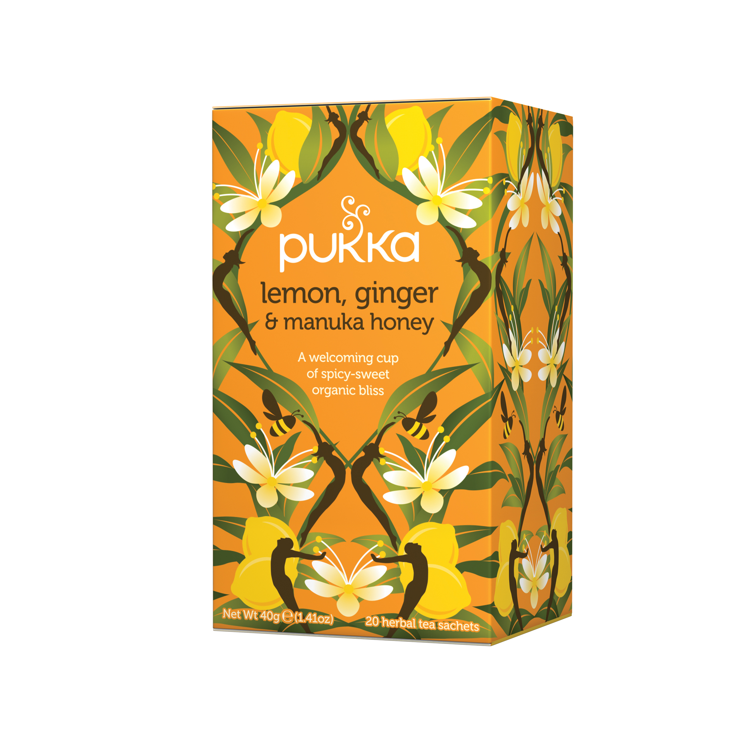 Tea bags Pukka Individually Enveloped Tea Bags Lemon Ginger and Manuka Honey Ref 5060229011541 Pack 20