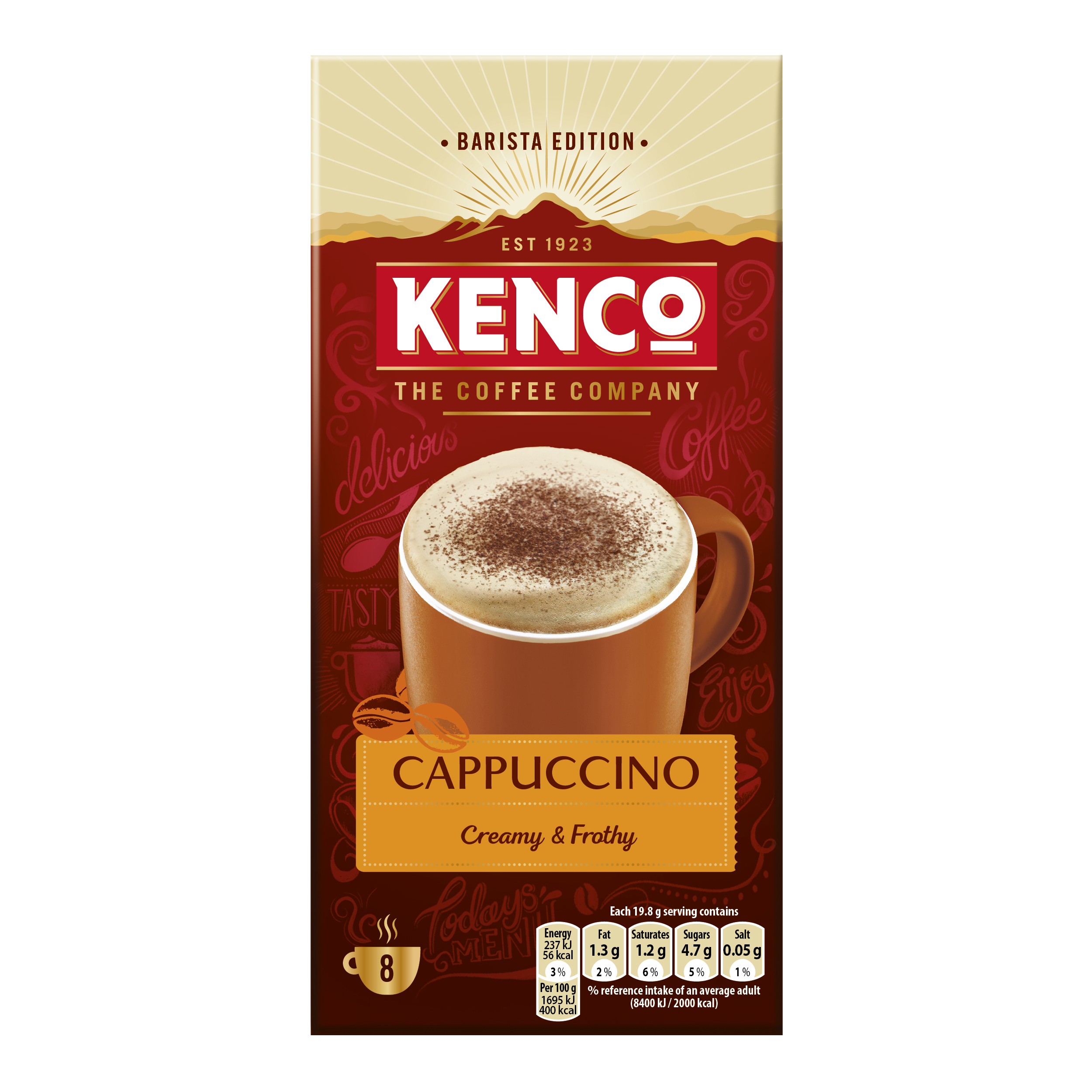 Coffee Kenco Cappuccino Instant Sachet Ref 4031817 Pack 8 x 5 Boxes
