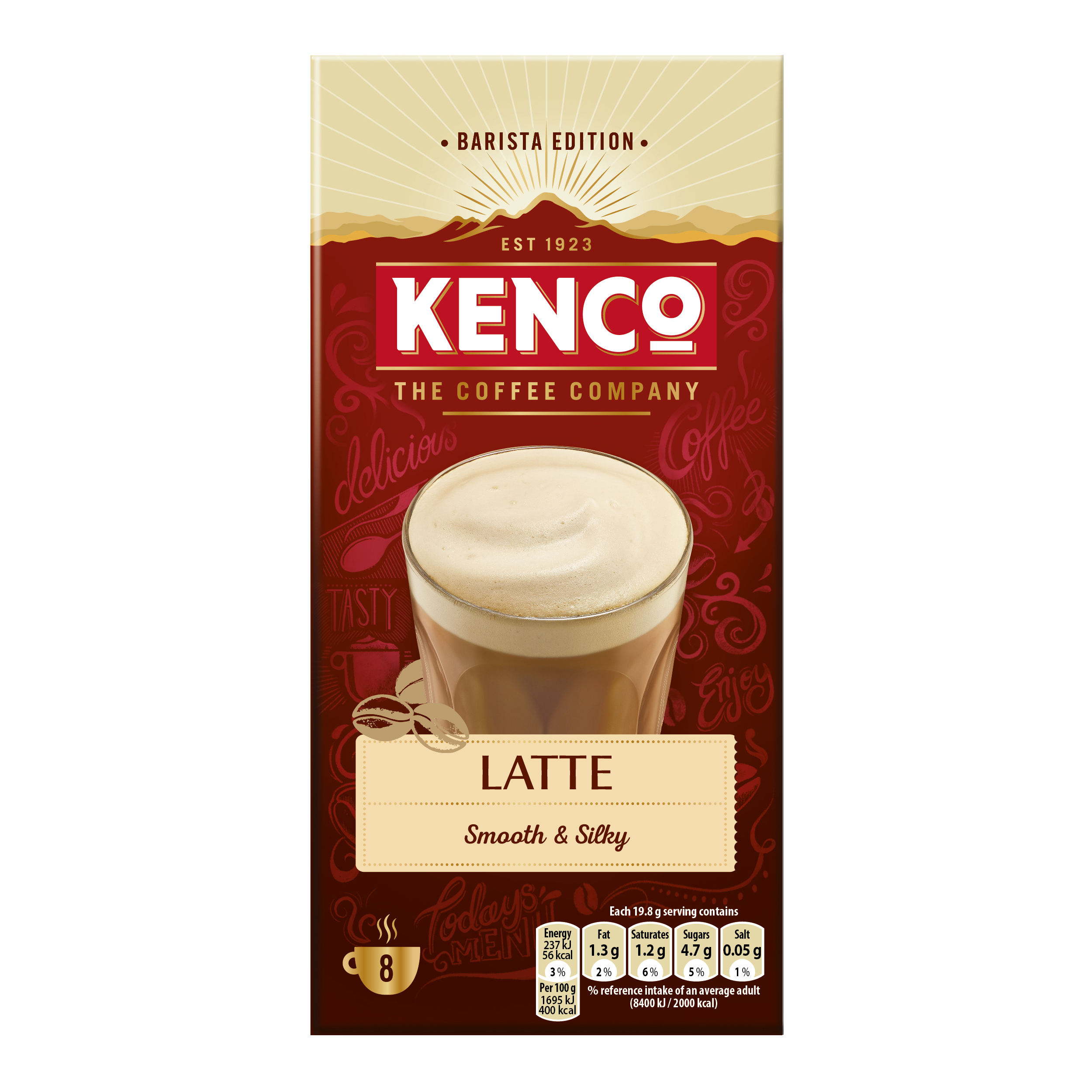 Coffee Kenco Caffe Latte Instant Sachet Ref 4031816 Pack 8 x 5 Boxes