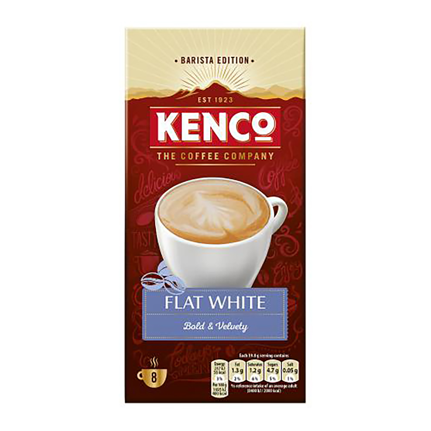 Coffee Kenco Flat White Instant Sachet Ref 4041493 Pack 8 x 5 Boxes