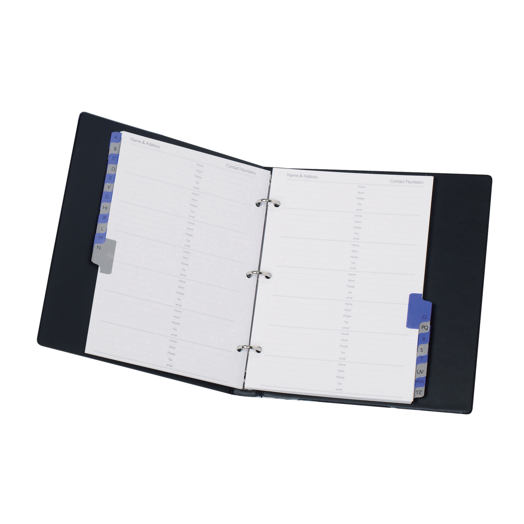 Address Books Telephone Book A-Z Index Ring Binder A5 Black
