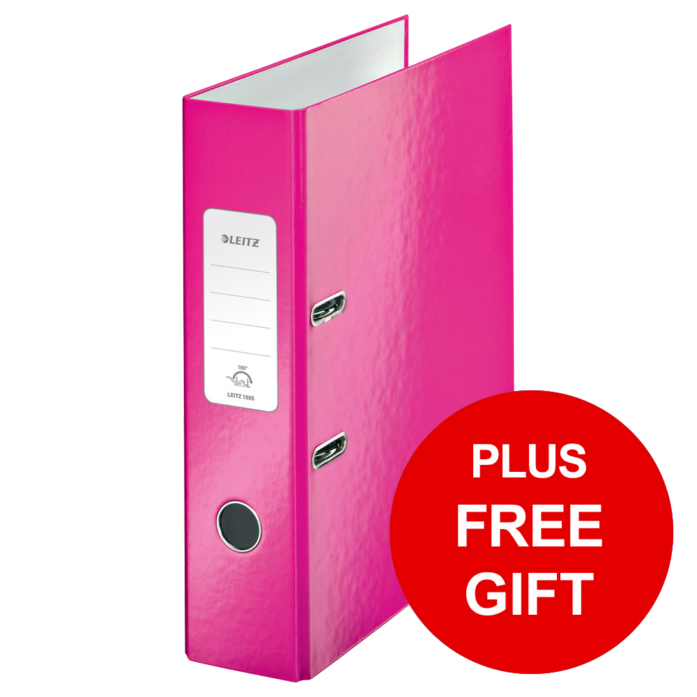 Leitz WOW Lever Arch File 80mm Spine for 600 Sheets A4 Pink Ref 10050023 Pack 10 REDEMPTION