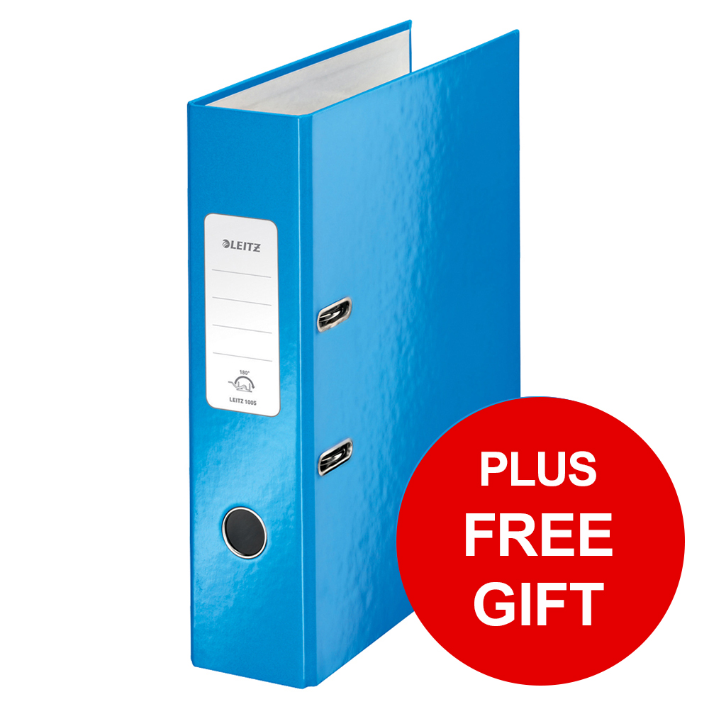 Leitz WOW Lever Arch File 80mm Spine for 600 Sheets A4 Blue Ref 10050036 Pack 10 REDEMPTION