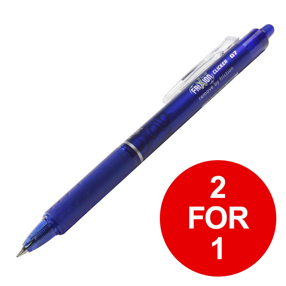 Pilot FriXion Clicker Rollerball Retractable Erasable Blue Ref 229101203 [Pack 12] [2 for 1] Feb 2019