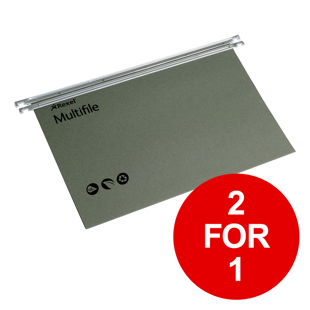 Rexel Multifile Suspension File Manilla 15mm Foolscap Green Ref 78008 [Pack 50] [2 for 1] Jan-Mar 2019