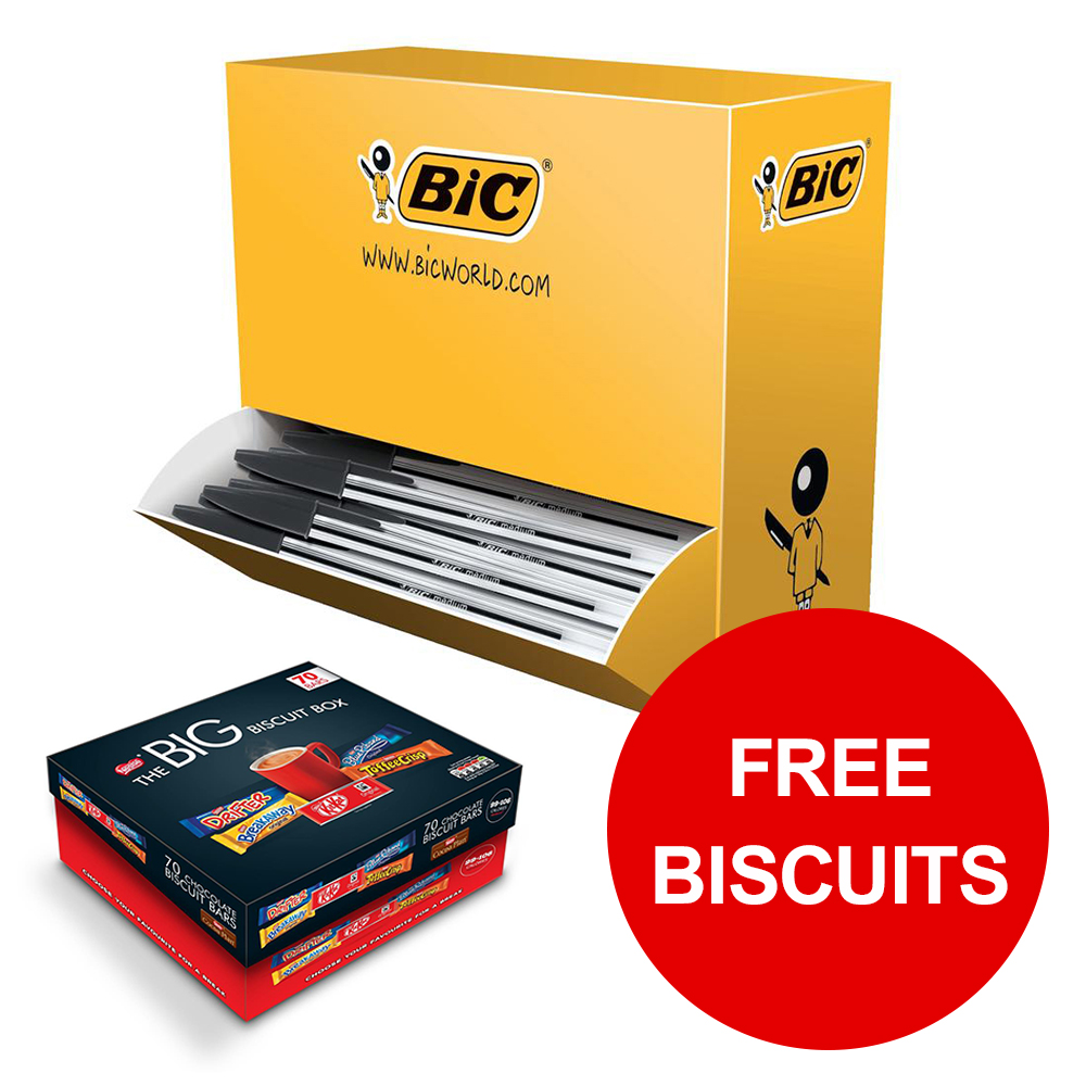 Bic Cristal Ball Pen Clear Barrel 1.0mm Tip Black Ref 896040 [Pack 100] [Free Biscuits] Jan-Mar 2019