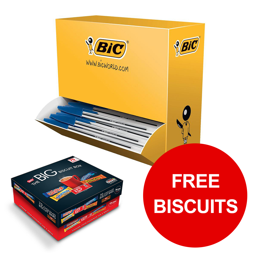 Bic Cristal Ball Pen Clear Barrel 1.0mm Tip Blue Ref 896039 [Pack 100] [Free Biscuits] Jan-Mar 2019