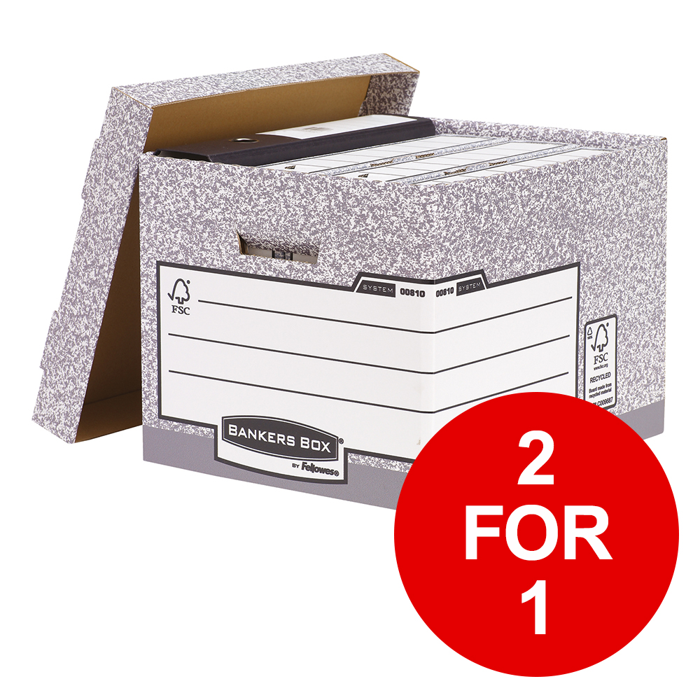 Bankers Box by Fellowes System Storage Box Foolscap FSC Ref 00810-FF [Pack 10] [2 for 1] Jan-Mar 19