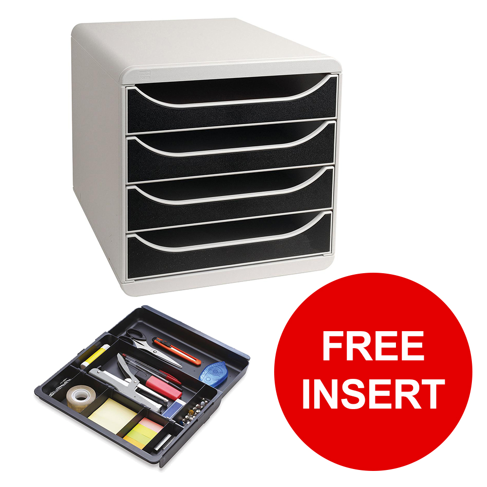 Exacompta Multiform Big Box Drawer Set Grey and Black Ref 310014D [Free Inserts] Jan-Mar 2019