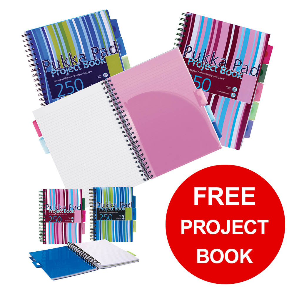 Pukka Pad Project Book Wirebound Ruled A4 Assorted Ref PROBA4 Pack 3 FREE A5 Notebooks Jan-Mar 2019