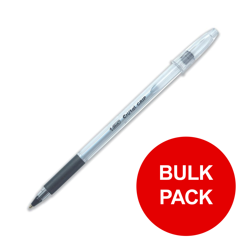 Bic Cristal Grip Ball Pen Clear Barrel Black Ref 802800 [Pack 100] [Bulk Pack] Jan-Dec 2019