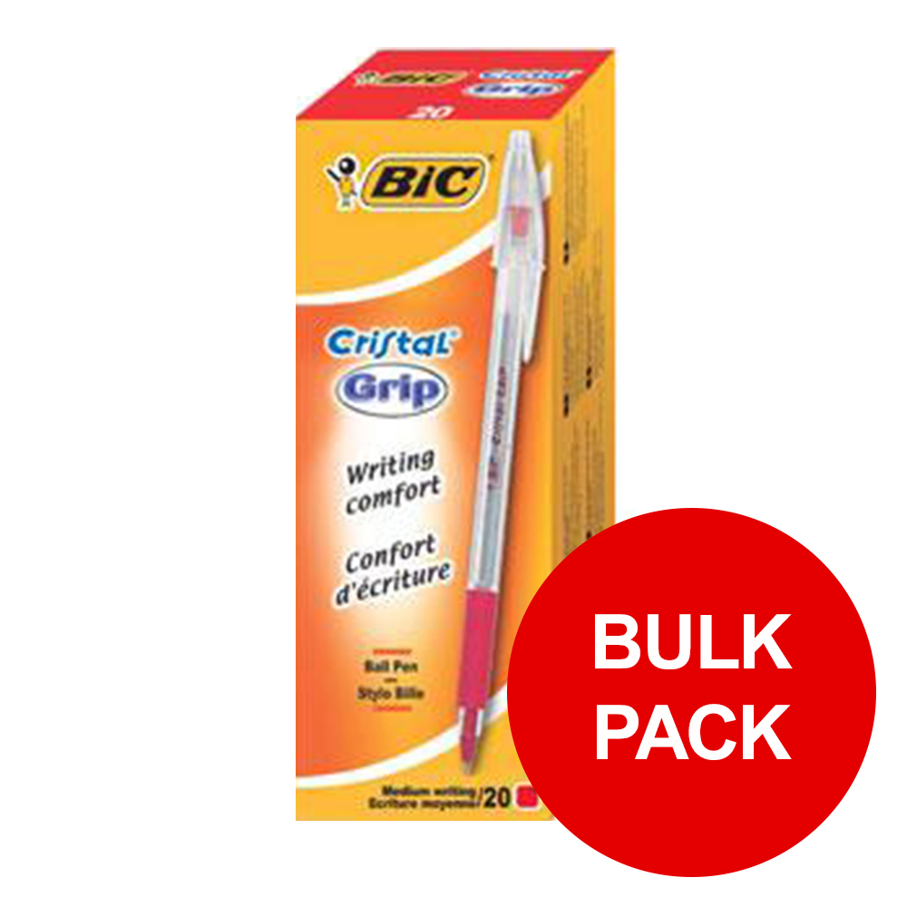 Bic Cristal Grip Ball Pen Clear Barrel Red Ref 802803 [Pack 100] [Bulk Pack] Jan-Dec 2019